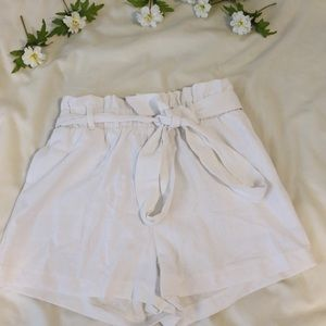 White Bow Flowy Shorts